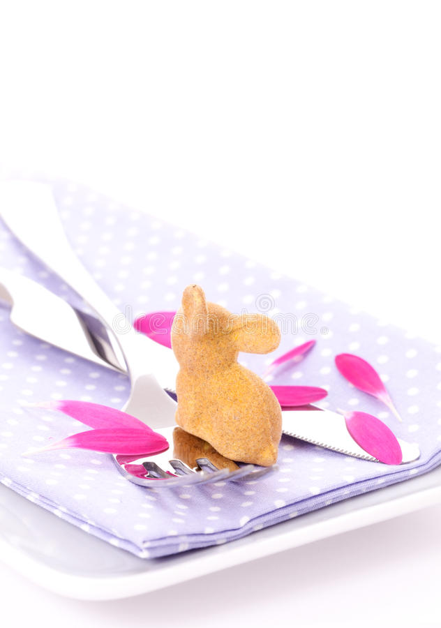 Happy easter. Easter place setting with bunny isolated on white background (high key royalty free stock images