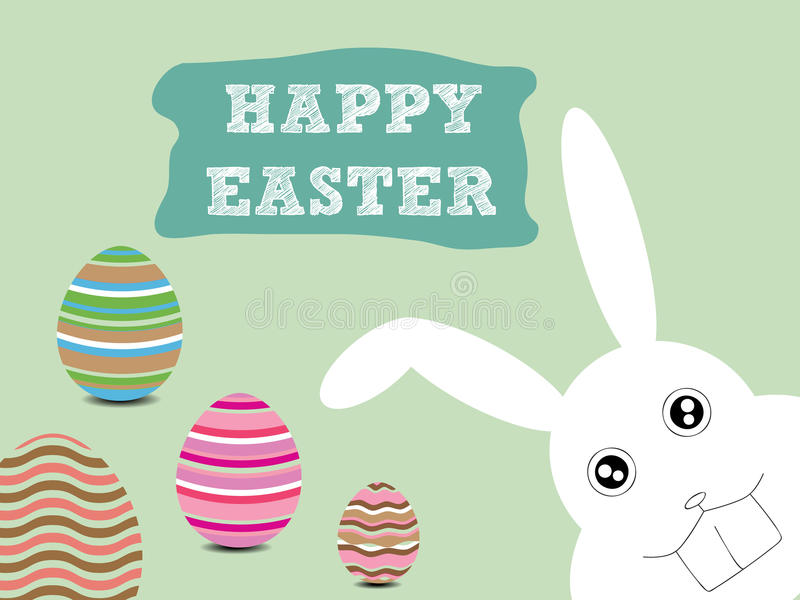 Happy Easter. Illustration of Happy Easter with Bunny and Eggs vector illustration