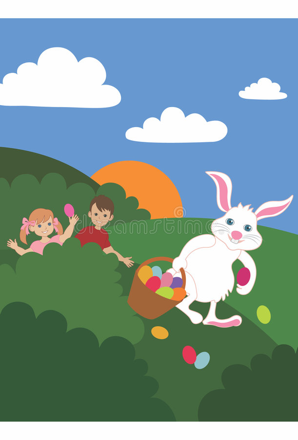 Happy Easter. Easter bunny carrying an basket full of Easter eggs. Children hiding behind bushes, finding eggs