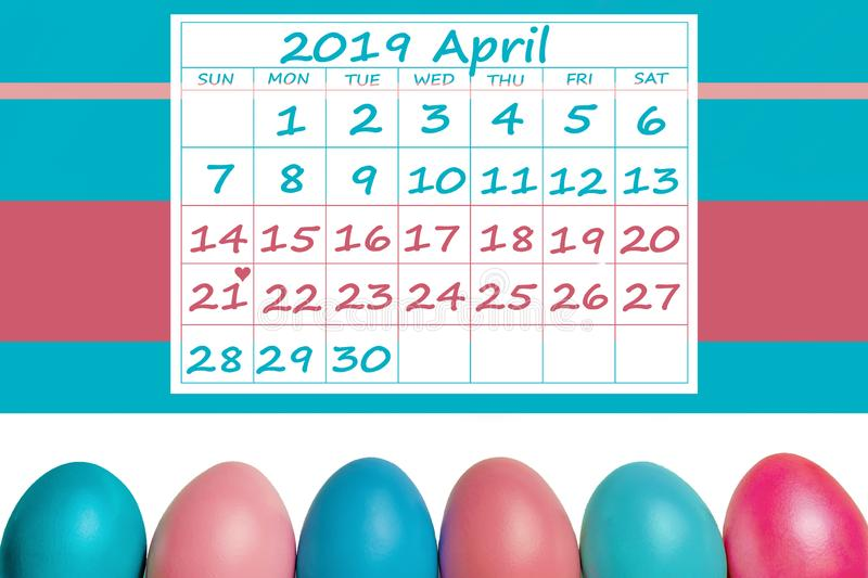 Happy Easter April 2019 Calendar colorful with easter eggs royalty free stock photo