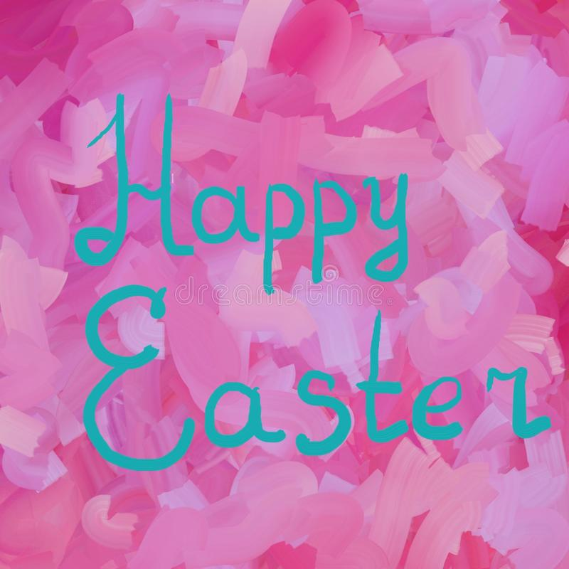 Happy Easter in azure typographic lettering greeting card on red the background. Hand drawn typography for Easter. Happy Easter in azure color typographic royalty free illustration