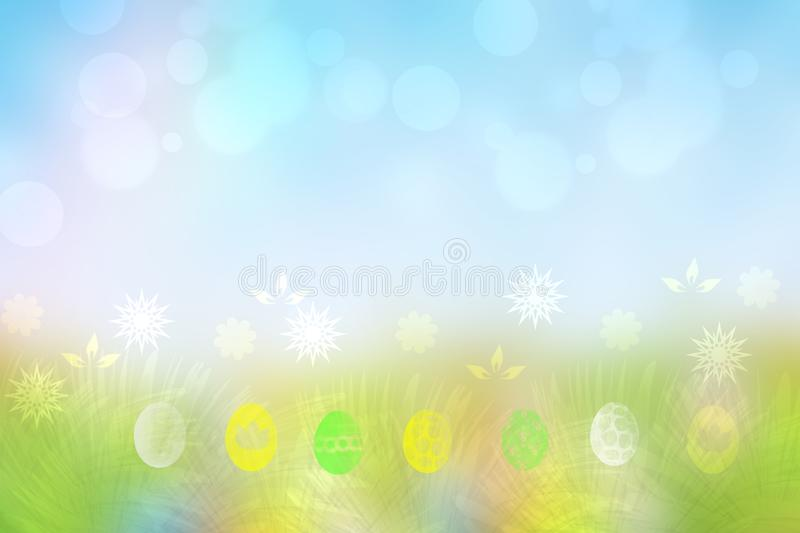 Happy easter background. Abstract green meadow with spring flowers and colorful easter eggs and a sunny blue sky. Space for your vector illustration