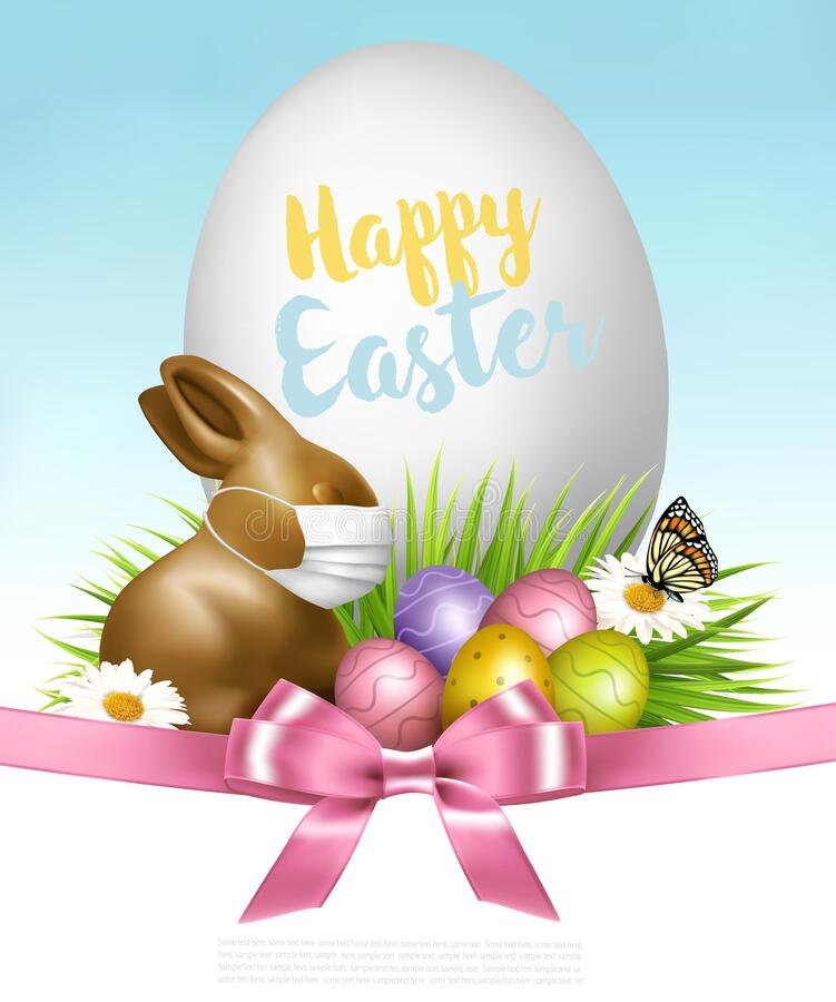 Free Happy Easter Background. Colorful Eggs And Chocolate Bunny  With A White Protective Face Mask On Green Grass. Royalty Free Stock Images - 214041829
