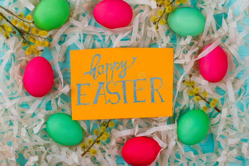 Happy Easter background with common attributes. royalty free stock images