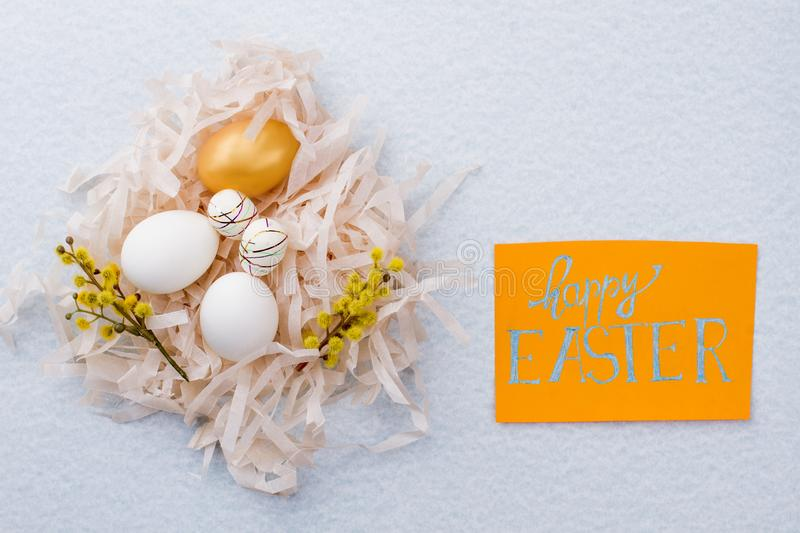Happy Easter background with delicate composition. stock photos
