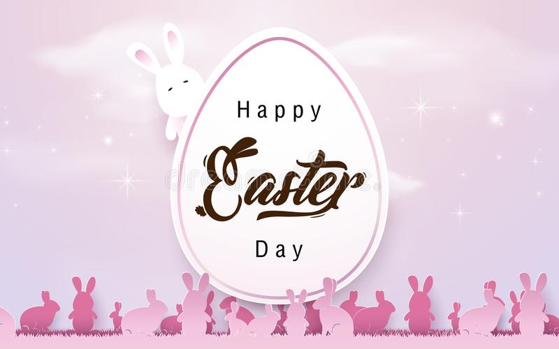 Happy Easter background. Easter egg with rabbits in pink tone color vector illustration