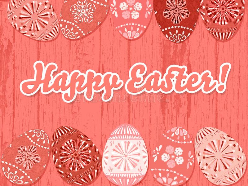 Happy Easter background in living coral vector illustration