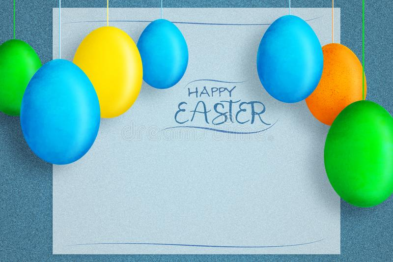 Happy easter background with multicolored easter eggs on rope. Copy space. Place for text. Greeting card. Flyer. Festive background royalty free stock images