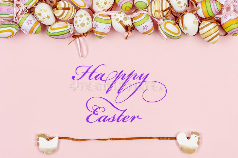 Happy easter background in the pastel color and on the wood royalty free illustration