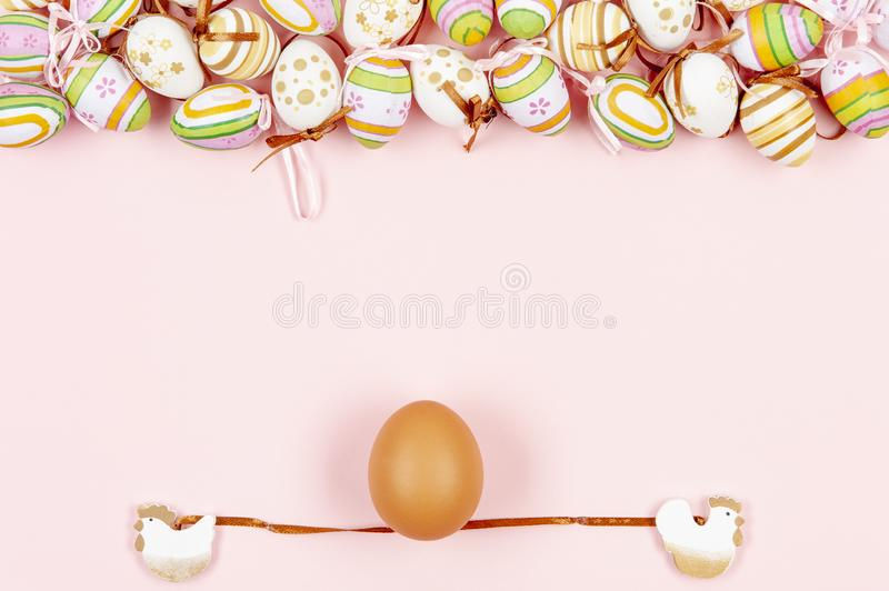 Happy easter background in the pastel color and on the wood.  royalty free stock photo