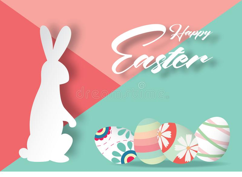 Happy Easter background with rabbit and beautiful colorful Easter eggs. royalty free illustration