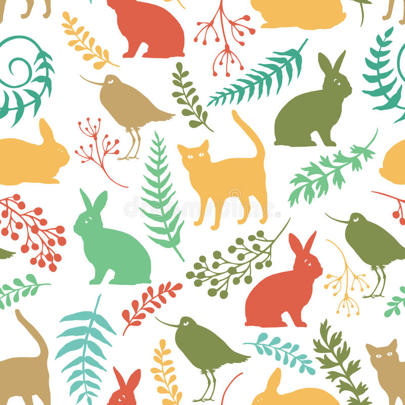 Happy Easter background with rabbits, birds and cats stock illustration