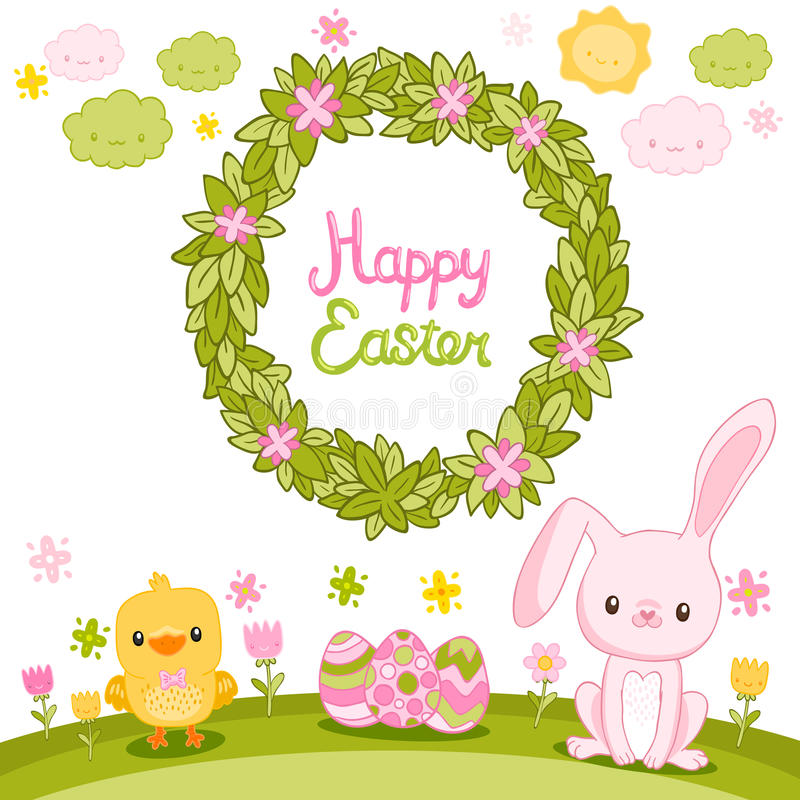 Free Happy Easter Background With Cartoon Cute Bunny Royalty Free Stock Image - 38156456