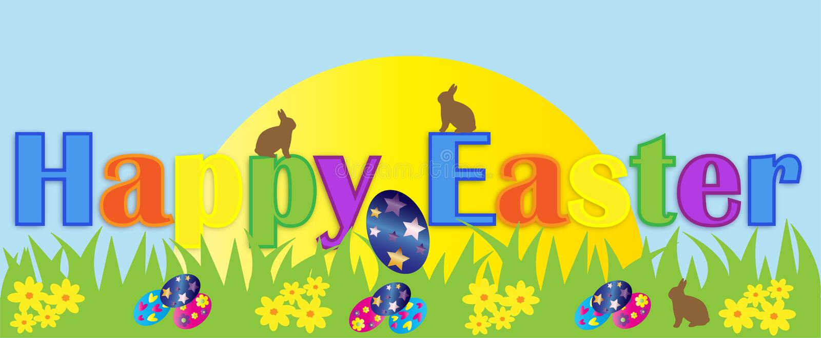 Happy Easter Banner royalty free illustration