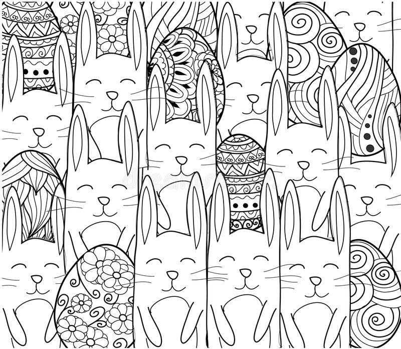 Happy Easter banner. Easter eggs with decorative ornamental elements,rabbits,bunny. stock illustration