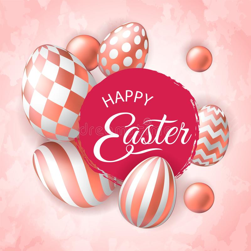 Happy Easter banner with realistic pink golden eggs royalty free illustration