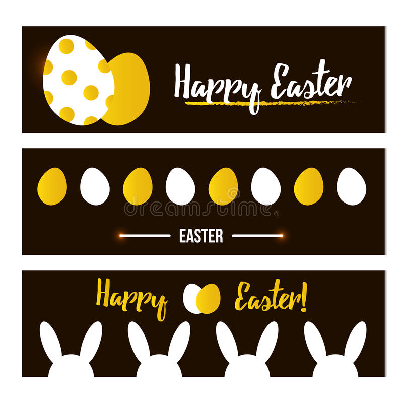 Happy Easter banner set, collection. Trendy black and gold colors. royalty free illustration