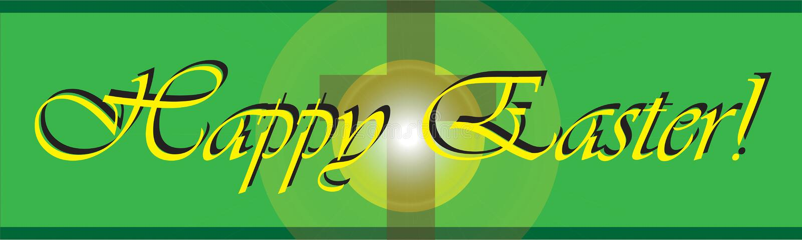 Happy Easter banner or sign with Catholic or Christian Cross stock photography