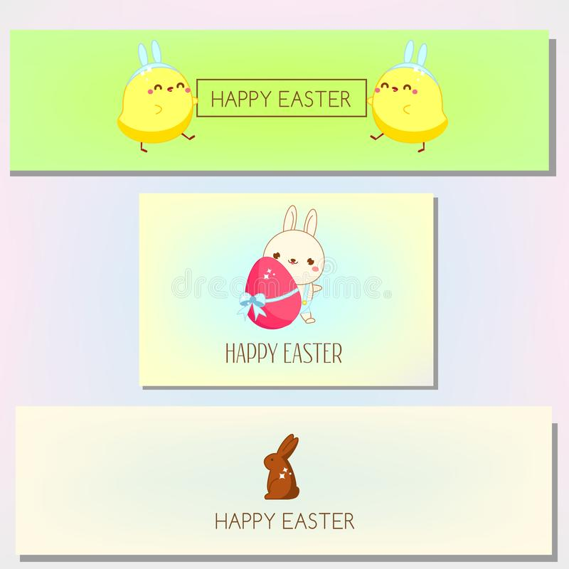 Happy Easter banner template collection. Set of horizontal spring banners with Cute chicken and bunny stock illustration