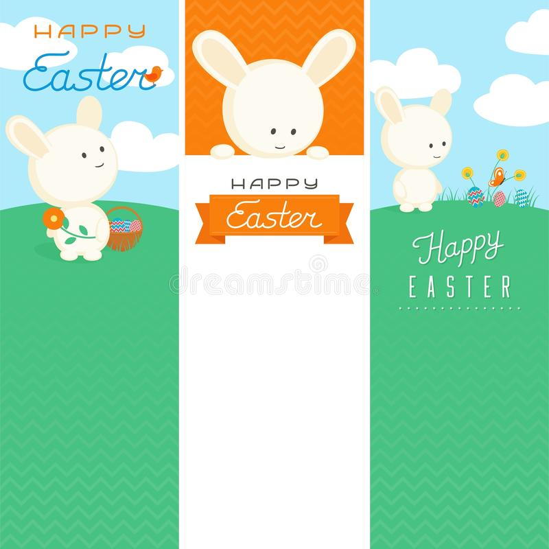 Happy Easter Banner Templates. Different banner templates with cute easter bunny and lettering stock illustration
