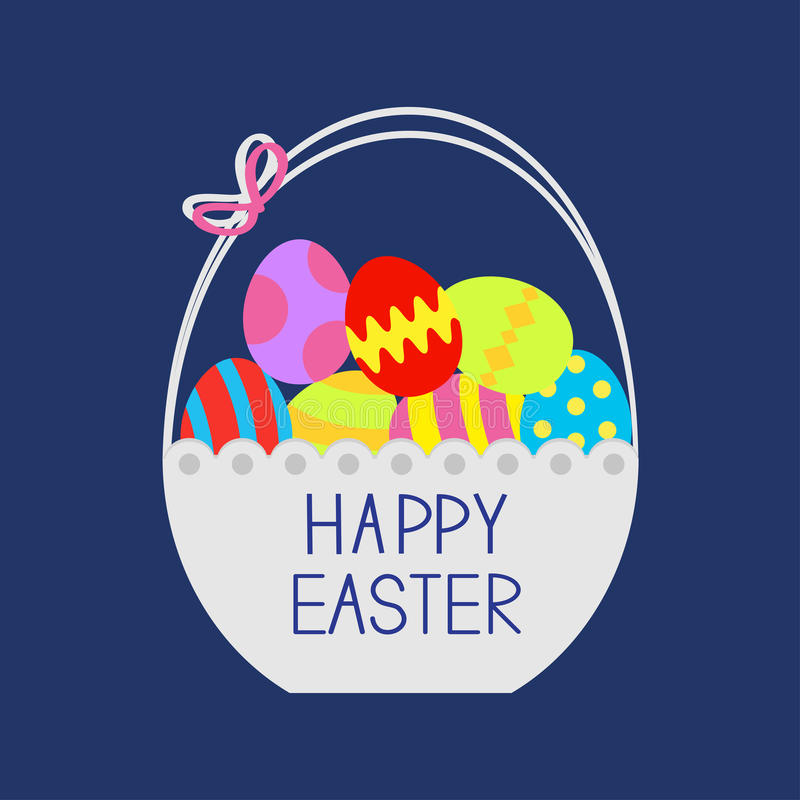 Free Happy Easter. Basket Full Of Colored Eggs. Flat Design Royalty Free Stock Image - 66499956