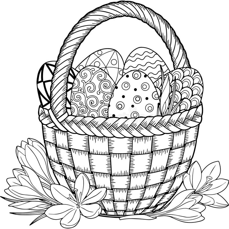 Happy Easter. Black and White Doodle Easter Eggs in the basket. Coloring book for adults for relax and meditation. Vector isolated stock illustration