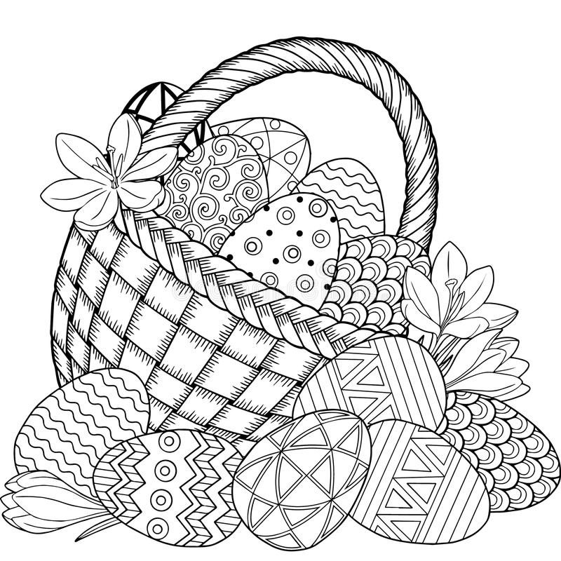 Download Happy Easter Black And White Doodle Eggs In The Basket Coloring Book