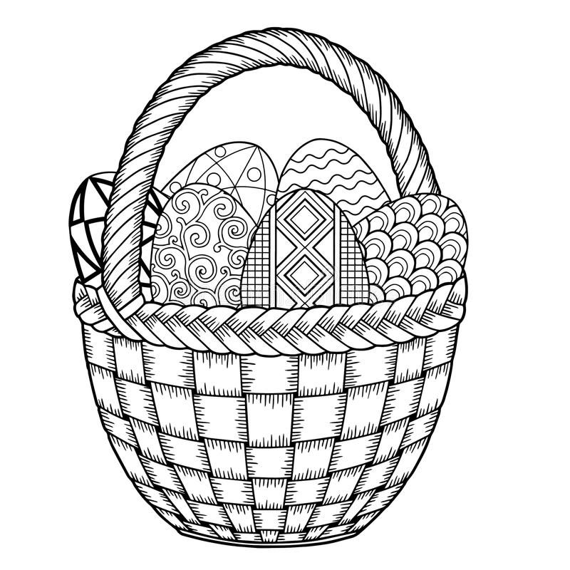 Happy Easter. Black and White Doodle Easter Eggs in the basket. Coloring book for adults for relax and meditation. Vector isolated royalty free illustration