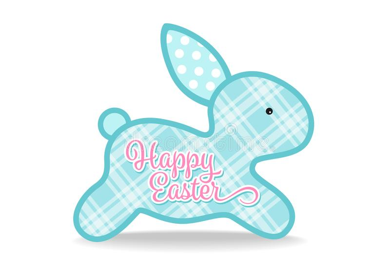 Happy easter with blue cute bunny and Scottish Tartan texture sign on white background vector design royalty free illustration