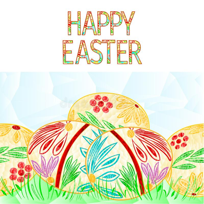 Happy easter border seamless background easter eggs and grass polygons greeting card vector Illustration artwork, dishes, cloth royalty free illustration