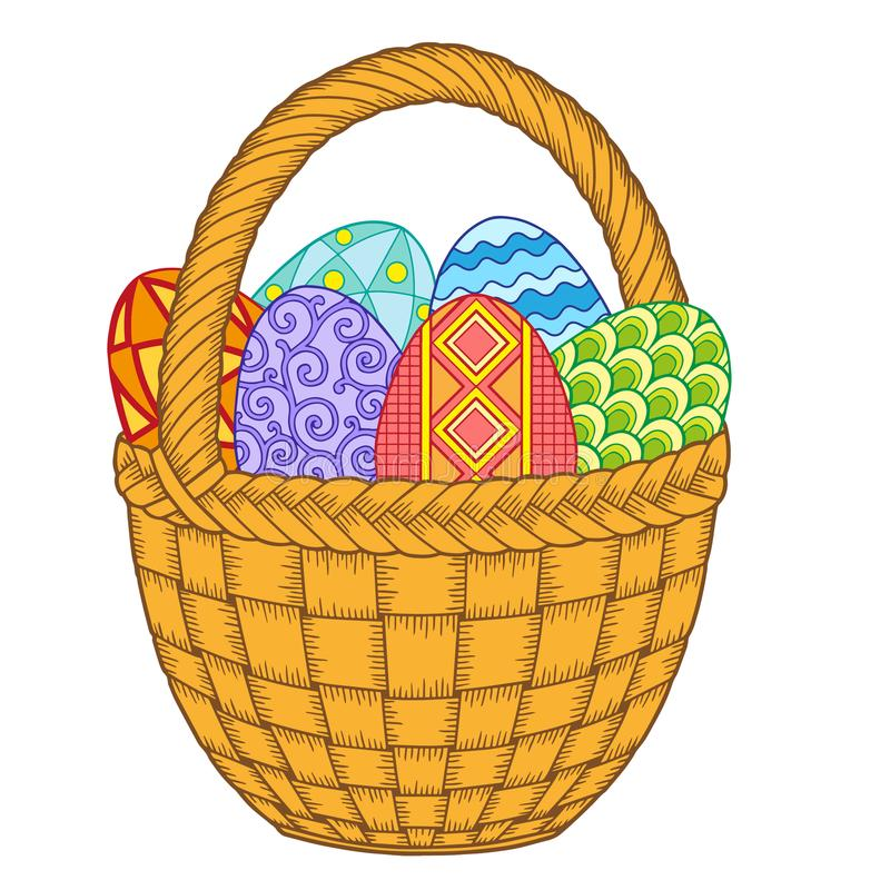 Free Happy Easter. Bright Easter Eggs In The Basket Isolated On White Background. Vector Isolated Elements Stock Image - 108506041