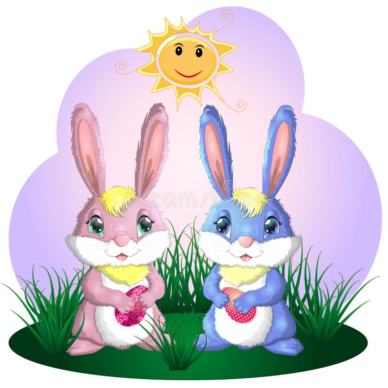 Happy Easter. Easter bunnies and egg in field. Wide copy space for text stock illustration
