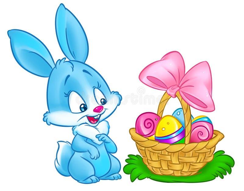 Happy Easter bunny basket eggs cartoon illustration stock illustration