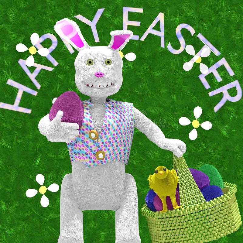 Happy easter bunny with basket of eggs royalty free illustration