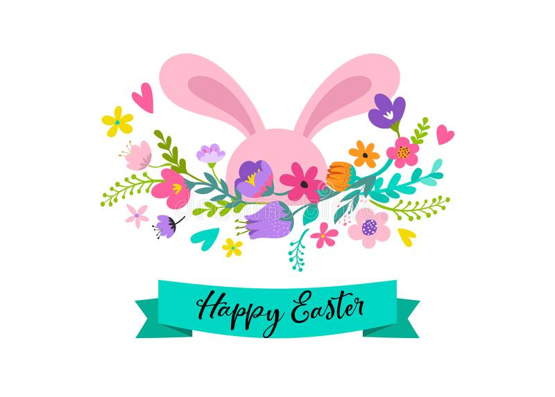 Happy easter bunny with flowers design easter sale and greeting download happy easter bunny with flowers design easter sale and greeting card holiday concept m4hsunfo
