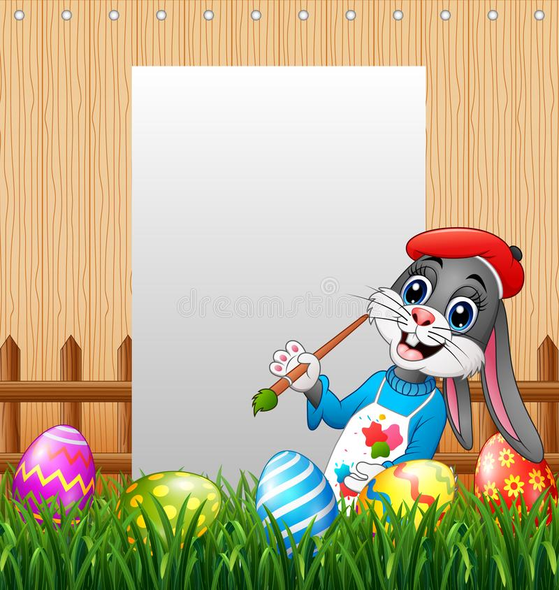 Happy Easter bunny painting egg with blank sign background royalty free illustration