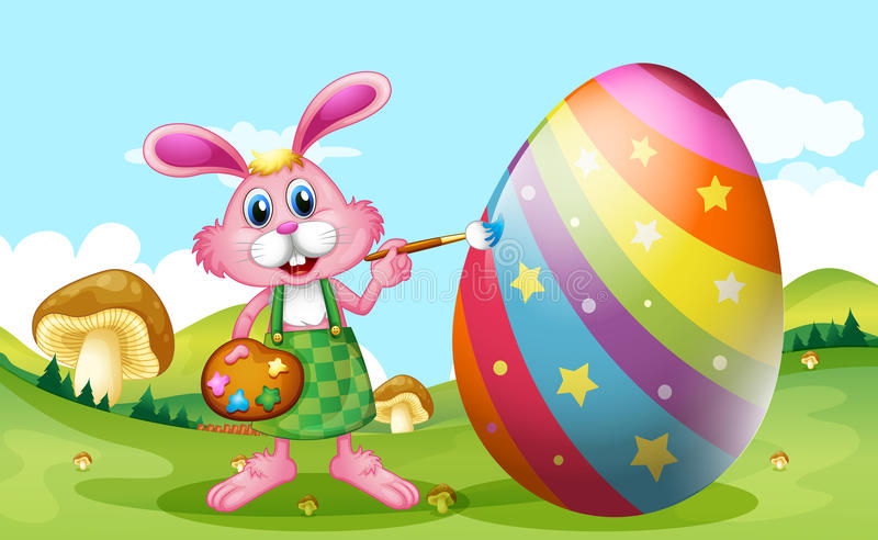 Happy Easter with bunny painting egg vector illustration