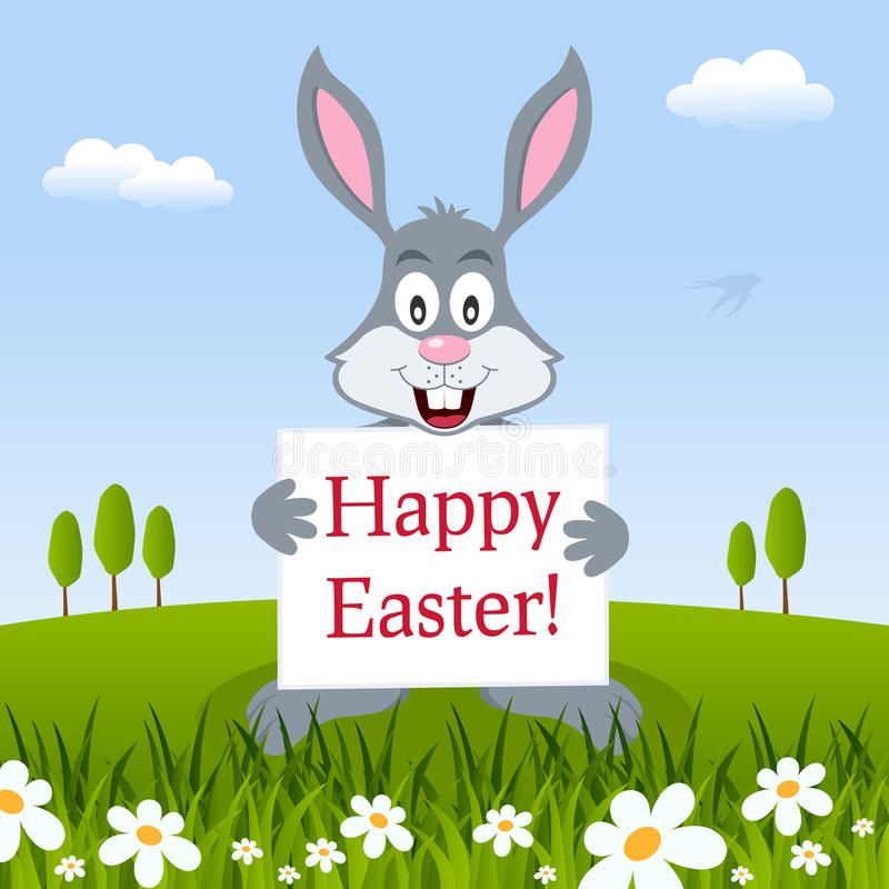 Happy Easter Bunny Rabbit in a Meadow royalty free illustration