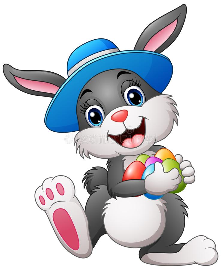 Happy easter bunny wearing a hat carrying eggs vector illustration