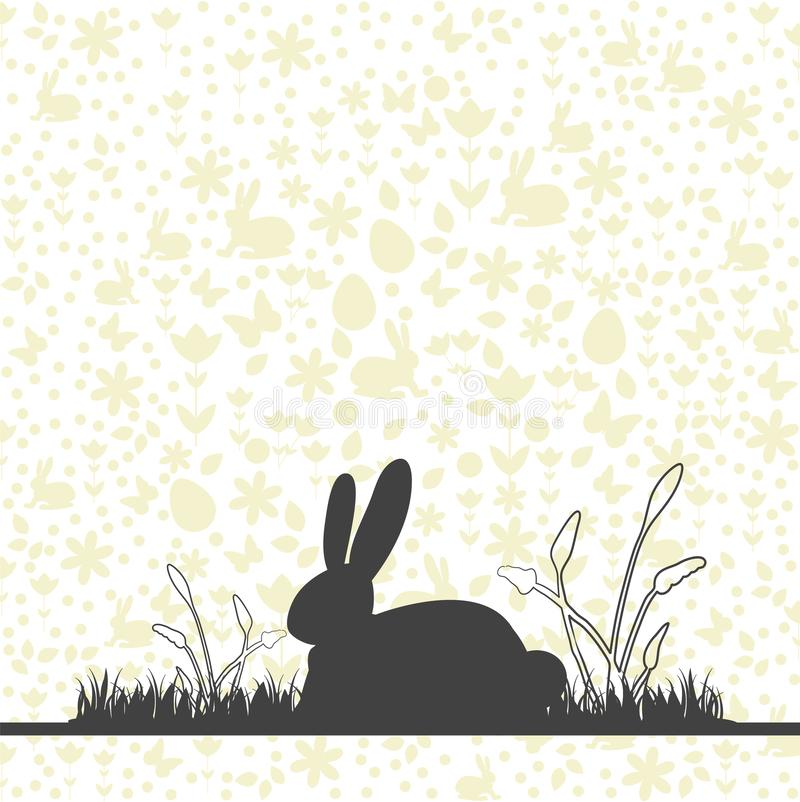 Happy easter card with background pattern and bunny on meadow silhouette. royalty free illustration