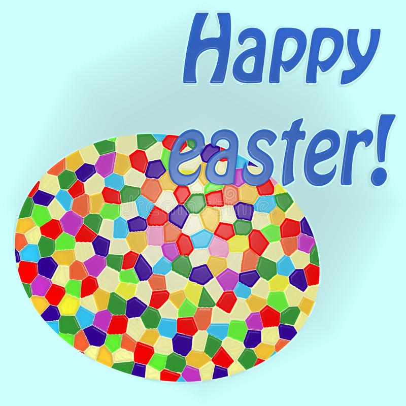 Happy easter card - big colored egg stock image