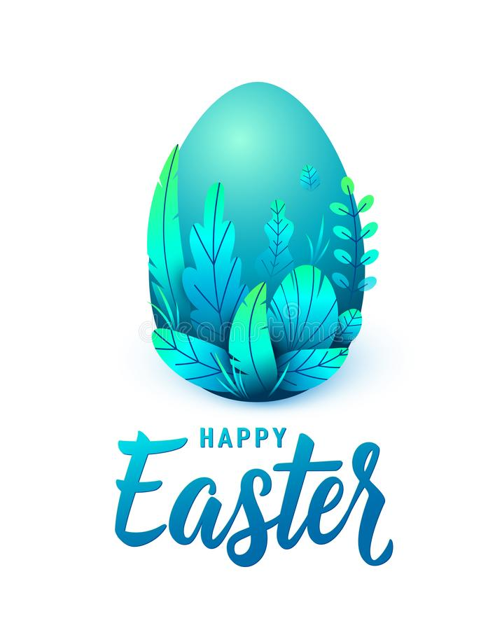 Happy easter card, big 3d egg with spring leaves. Text lettering sign for greeting holiday background. Isolated on white royalty free illustration