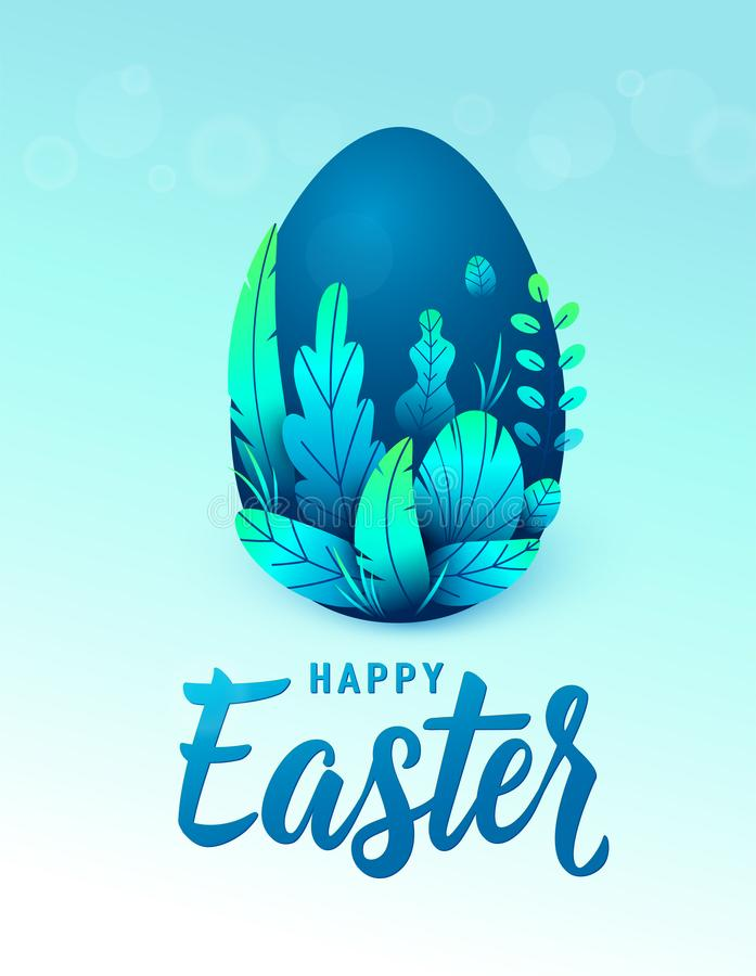 Happy easter card, big 3d nature egg with spring leaves. Text lettering sign for greeting holiday background. Vector vector illustration