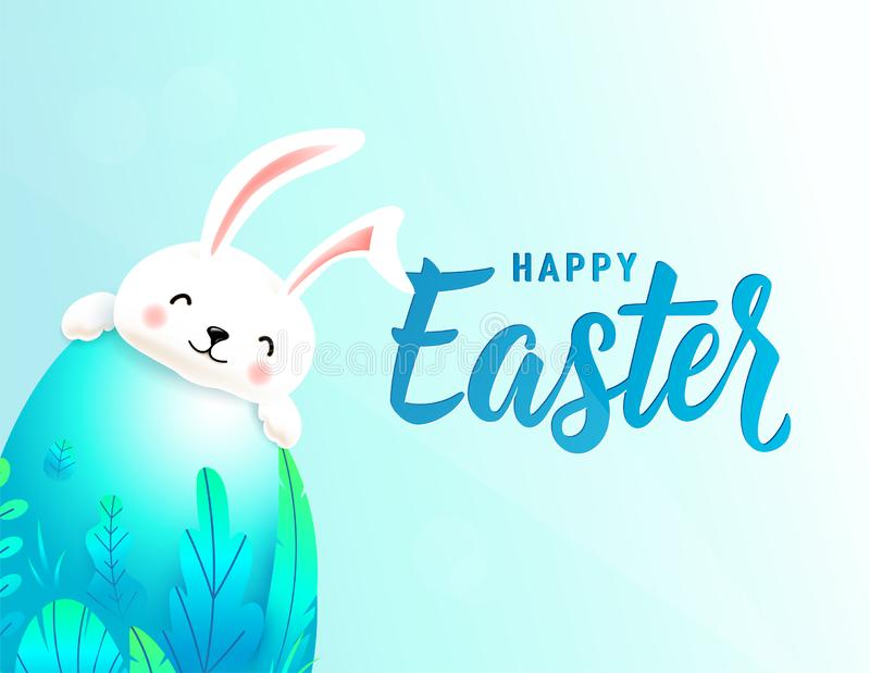 Happy easter card with big 3d spring leaves egg behind which smiling cute rabbit is hiding. Text lettering sign for stock illustration