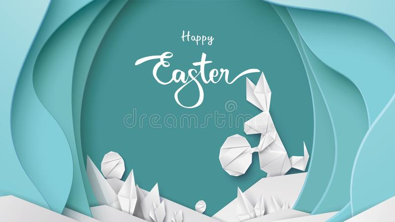 Happy Easter card with bunny rabbit shape, eggs on colorful modern pastel background. Copy space for text vector illustration with vector illustration