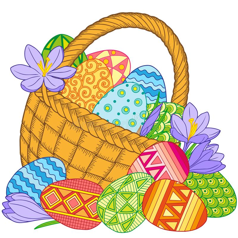 Happy Easter. Card of crocuses and Bright easter eggs in the basket isolated on white background. Vector isolated elements. vector illustration