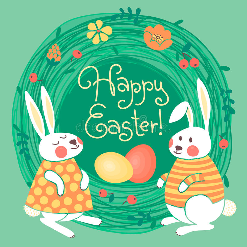 Happy Easter card with cute bunnies and colored stock illustration