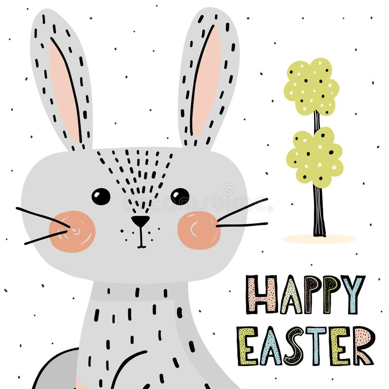 Happy Easter card with cute bunny royalty free illustration