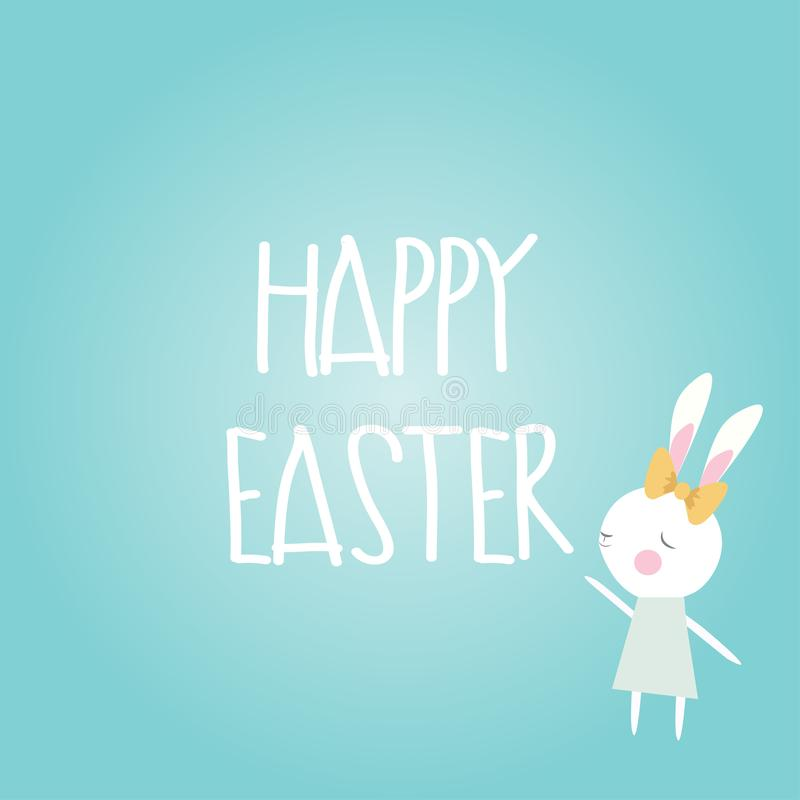 Happy Easter card cute bunny rabbit wearing bow dress blue background vector illustration