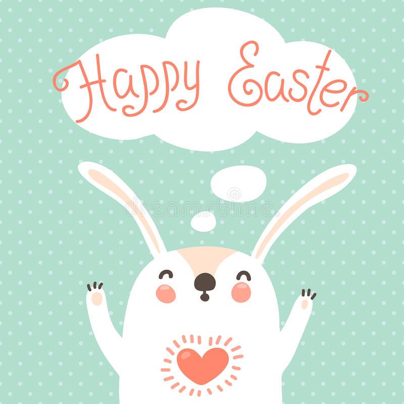 Download Happy Easter Card With Cute Bunny. Stock Vector - Illustration of concept, flat: 39149036